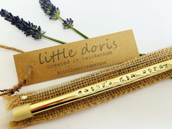 Gold personalised metal straw